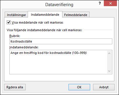 Inställningar för indatameddelande i dialogrutan Dataverifiering
