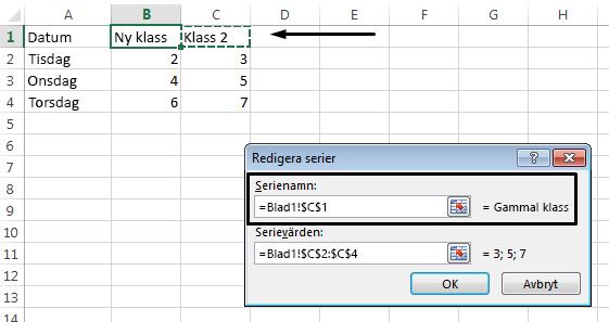 Om du vill använda en annan cell som förklaringsnamn klickar du i textrutan Serienamn.