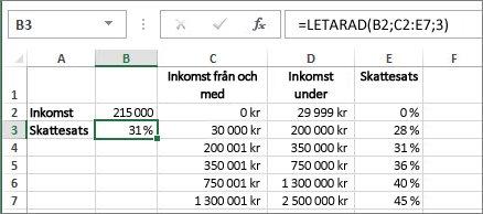 Ett vanligt användande av funktionen LETARAD