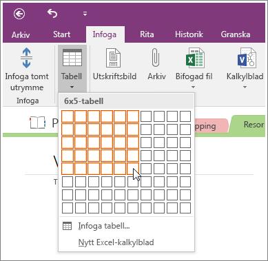 Skärmbild på hur du lägger till en tabell i OneNote 2016.
