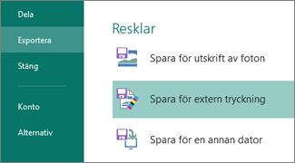 Klicka på Arkiv, Exportera för att se Resklar-alternativen.