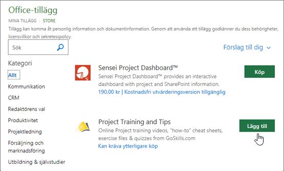 Skärmbild av sidan Office-tillägg i butik där du kan välja eller söka efter ett tillägg för projektet.
