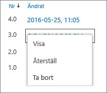 Alternativ för versionshistorik (visa, återställ, ta bort)