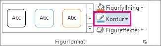 Kommandot Figurkontur på fliken Format under Ritverktyg