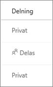 OneDrive för företag – vy över Delningsstatus