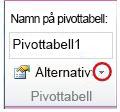 Gruppen Pivottabell på fliken Alternativ under Verktyg för pivottabell