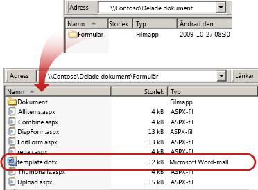 Innehållet i mappen Formulär i ett dokumentbibliotek
