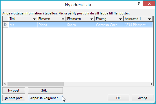 Om du vill lägga till anpassade kolumner i dokumentkopplingslistan klickar du på Anpassa kolumner.