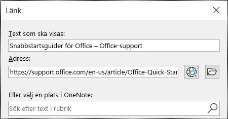 Skärmbild av dialogrutan Länk i OneNote. Innehåller två fält att fylla i: Text som ska visas och Adress.