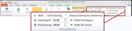 Gruppen Tidsinställning på fliken Animeringar i menyfliksområdet i PowerPoint 2010.