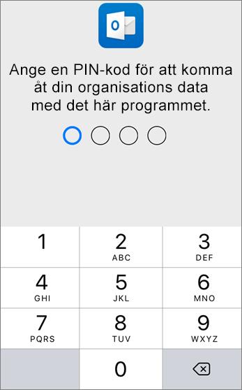 Ange en PIN-kod för att komma åt din organisations data.