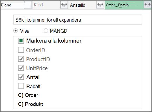 Expandera tabellänk för Order_Details
