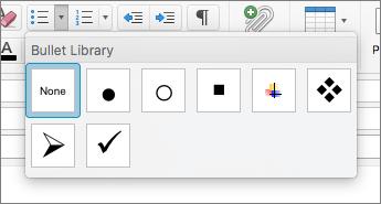 Skärmbild av tillgängliga alternativ för punktlistor