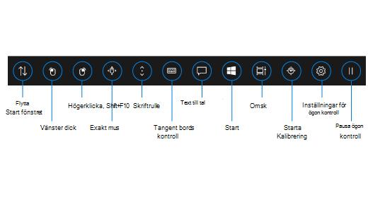 I startfönstret för ögonstyrning finns knappar som gör att du kan flytta startfönstret, aktivera vänster och höger klickknappar på en mus, använda mus- och rullningskontroller med hög precision och öppna det ögonstyrda tangentbordet, text till tal, Start-menyn i Windows och Aktivitetsvyn. Du kan också kalibrera ögonspåraren, öppna inställningarna för ögonstyrning och pausa ögonstyrningen så att startfönstret döljs.