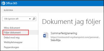 Skärmbild av OneDrive för företag-dokument som du följer i Office 365.