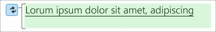 En grön markering betyder ändrad text.