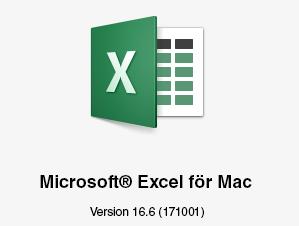 Microsoft Excel för Mac-logotyp visar version 16.6