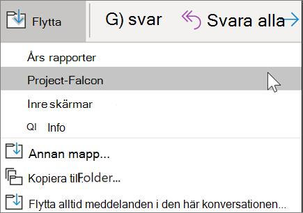 Flytta ett meddelande till en mapp i Outlook