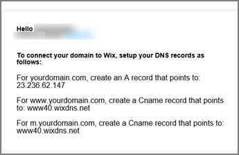 Använd följande DNS-postinställningar i Wix.com