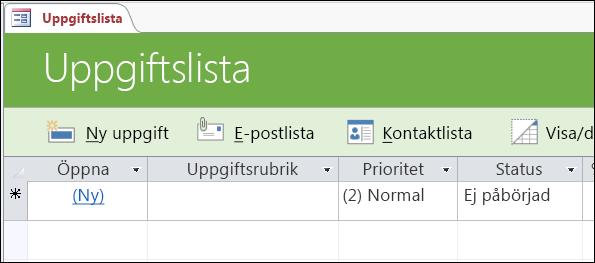 Uppgiftslistformulär i uppgiftsdatabasmallen i Access