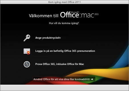 Skärmbild av välkomstsida för Office för Mac 2011