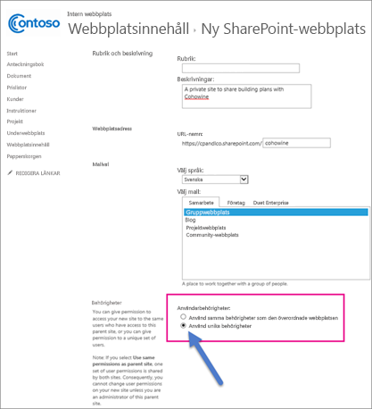 På den nya SharePoint-webbplatssidan väljer du alternativet Unika behörigheter.
