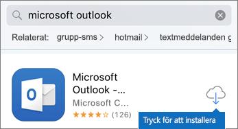 Tryck på molnikonen för att installera Outlook