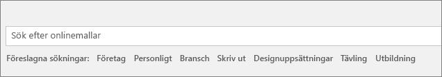 Sökrutan för att hitta Word-mallar online visas.