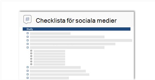 Bild av en checklista för sociala media