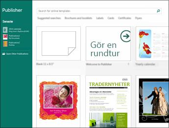 Skärmbild med mallar på startskärmen i Publisher.