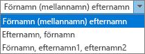 Outlook-alternativ för kontakter, med listalternativ för Fullständigt namn-ordning.