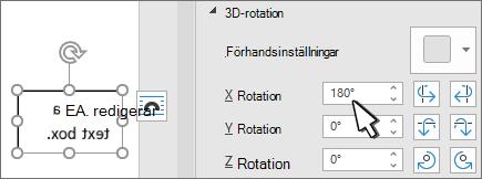 Textruta med 3D-rotation x 180 grader