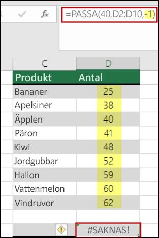 Funktionen PASSA i Excel