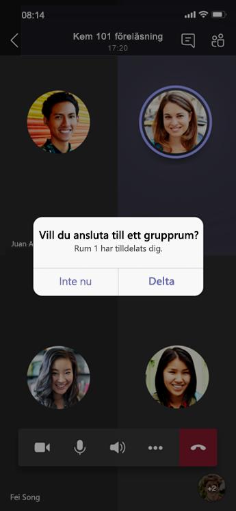 Anslut till dialog i Grupprum på mobilen.