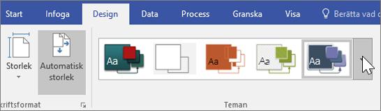 Skärmbild av verktygsfältsalternativen Design > Teman