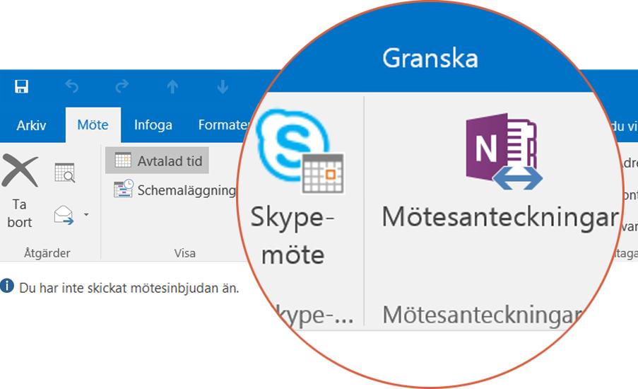 Samarbeta med Skype och OneNote