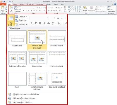 Fliken Start i PowerPoint 2010, med visning av gruppen Bilder.