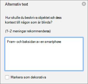 Dialogrutan Excel 365 skriva alternativtext för bilder