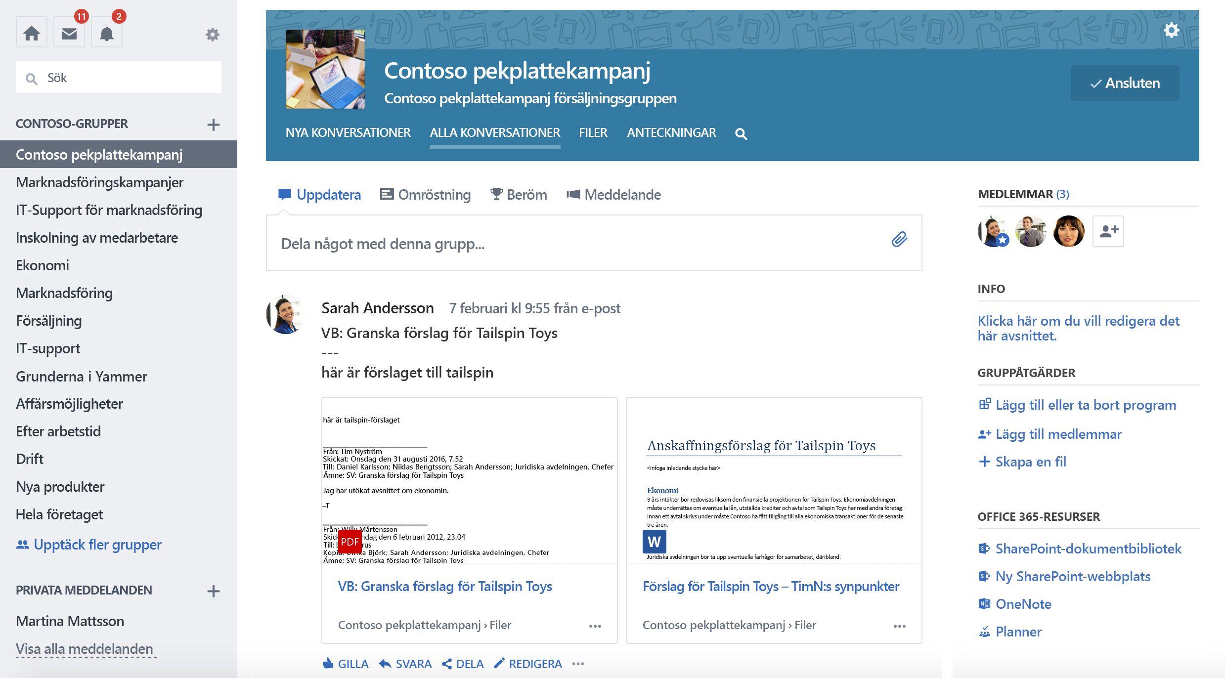 Skärm bild av Office 365-anslutna Yammer-gruppkonversationer
