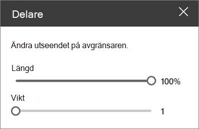Informations fönstret avdelare webbdel i SharePoint Online när du redigerar en webbplats