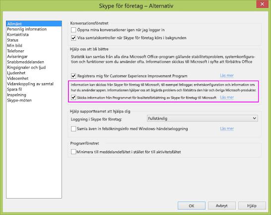 Kryssrutan för Skype för företag-datainsamling i dialogrutan Alternativ > Allmänt