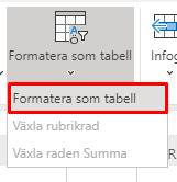 Knappen Formatera som tabell