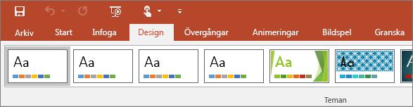 Visar designfliken på menyfliksområdet i PowerPoint