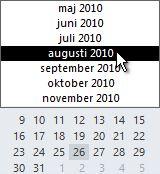 Datumnavigator med månadsväljare