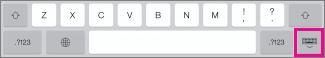 Tryck på tangenten på tangentbordet längst ned till höger om du vill dölja tangentbordet