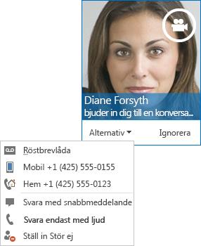 Skärmdump på videosamtalsvarning med kontaktens bild i det övre hörnet