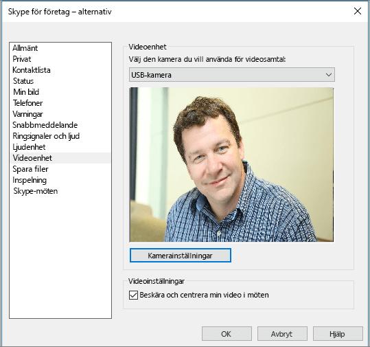 Skärmbild av sidan Videoenheter i dialogrutan Alternativ i Skype för företag.