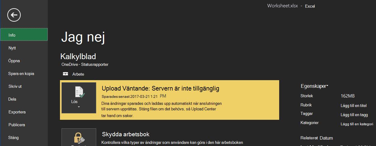 Uppladdning väntar: Servern är inte tillgänglig
