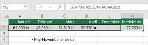 Använda SUMMA med andra funktioner.  Formeln i cell M2 är=SUMMA(A2:L2)/ANTALV(A2:L2)  Obs!  Kolumnerna maj-november döljs för tydlighetens skull.