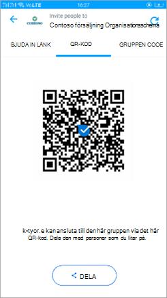 Skärm bild av QR-kodsida i Kaizala